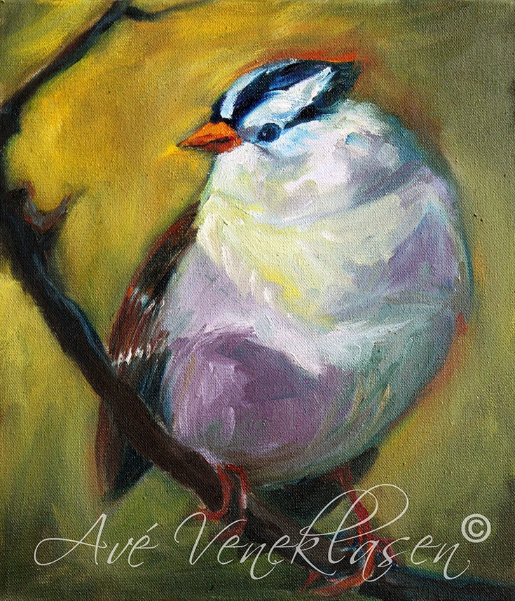 Ave_Veneklasen_BirdsWhiteCrownedSparrow_OilPainting