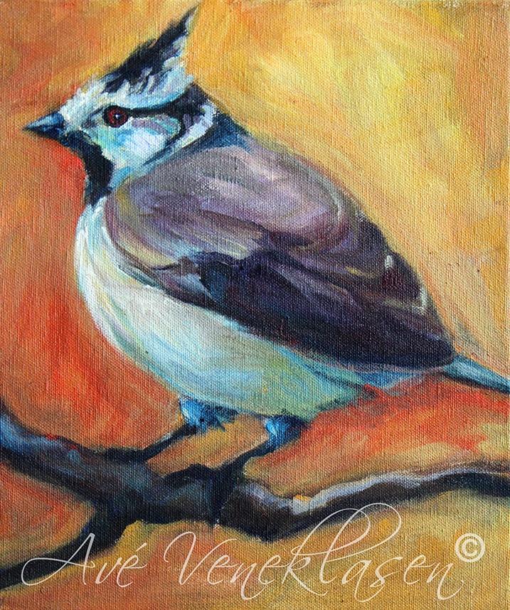 Ave_Veneklasen_Birds_CrestedChickadee_OilPainting