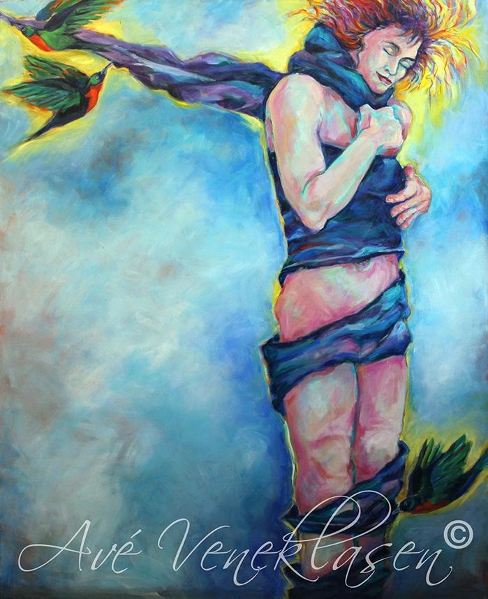 Ave_Veneklasen_Birds_GirlWrappedByBirds_Acrylic