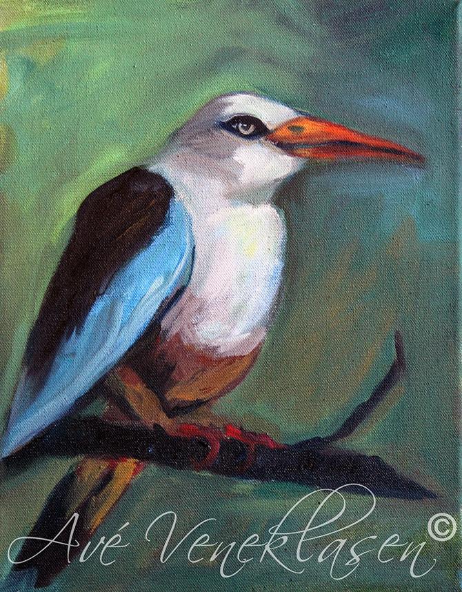 Ave_Veneklasen_Birds_GreyHeadedKingfisher_OilPainting