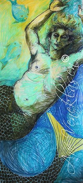 Ave_Veneklasen_Mermaids_DeepBelowWithFish_Pastel