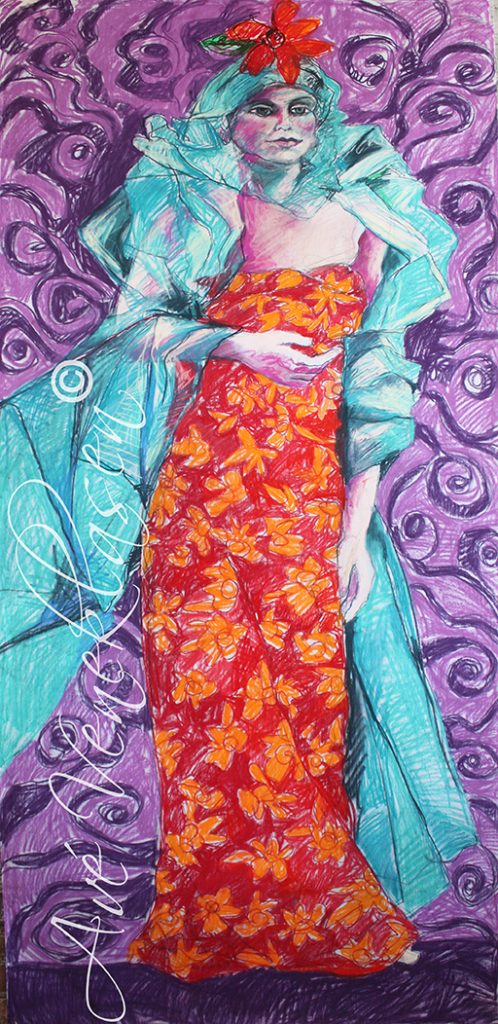 Ave_Veneklasen_WomenWithFlowers_PurpleSwirls_Pastel